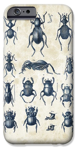 Beetle iPhone Cases - Beetles - 1897 - 01 iPhone Case by Aged Pixel