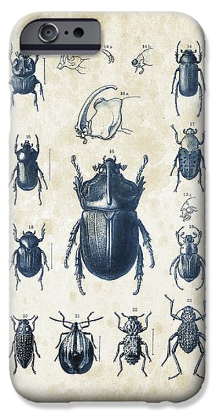 Beetle iPhone Cases - Beetles - 1897 - 02 iPhone Case by Aged Pixel