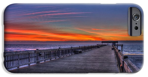 Beach Landscape iPhone Cases - Before The Dawn Tybee Island Pier iPhone Case by Reid Callaway