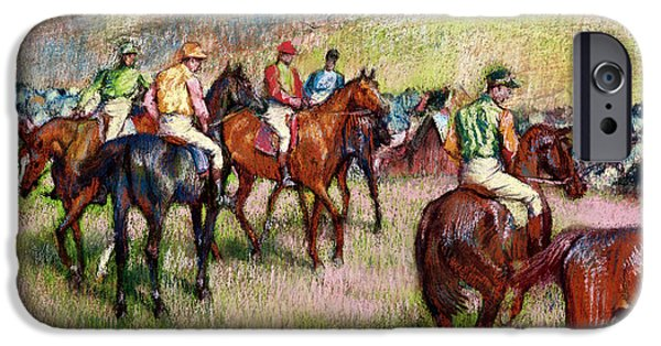 The Horse iPhone Cases - Before the Race iPhone Case by Edgar Degas