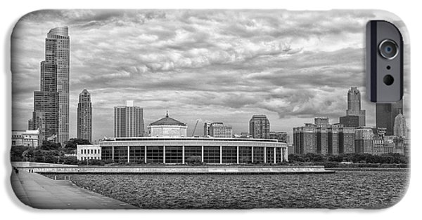 Willis Tower iPhone Cases - Before The Spring Storm Chicago Shedd Aquarium BW 01 iPhone Case by Thomas Woolworth