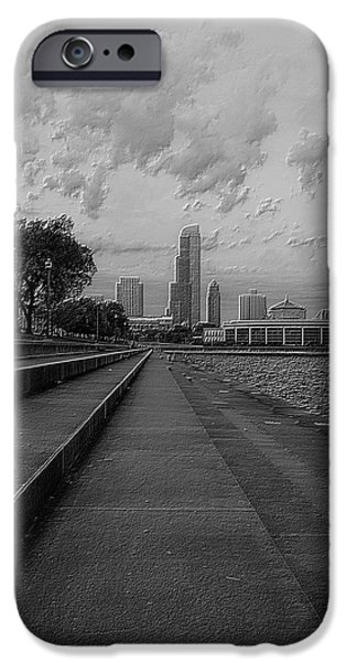 Facade Mixed Media iPhone Cases - Before The Spring Storm Chicago Shedd Aquarium Eastside BW Vertical iPhone Case by Thomas Woolworth