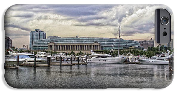 Soldier Field iPhone Cases - Before The Spring Storm Chicago Soldier Field 02 iPhone Case by Thomas Woolworth