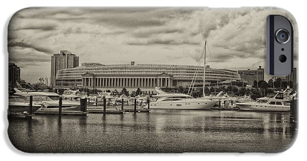 Facade Mixed Media iPhone Cases - Before The Spring Storm Chicago Soldier Field Antique iPhone Case by Thomas Woolworth