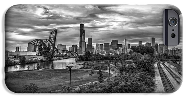 River iPhone Cases - Before the Storm Chicago iPhone Case by Mike Burgquist