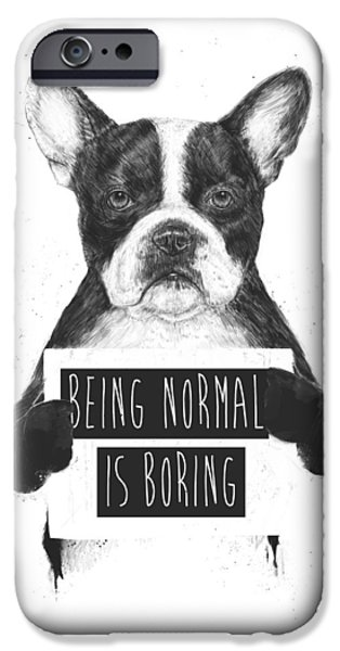 Black Dog iPhone Cases - Being normal is boring iPhone Case by Balazs Solti