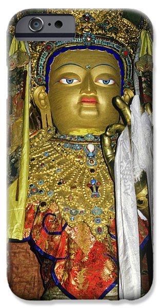 Tibetan Buddhism iPhone Cases - Bejeweled Buddha iPhone Case by Michele Burgess