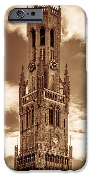 Toning iPhone Cases - Belfry Tower of Bruges iPhone Case by Wim Lanclus