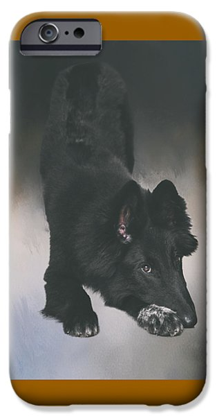 Puppies iPhone Cases - Belgian Sheepdog Puppy Art iPhone Case by Wolf Shadow  Photography