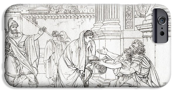 Flavius iPhone Cases - Belisarius Begging For Alms, After The iPhone Case by Vintage Design Pics