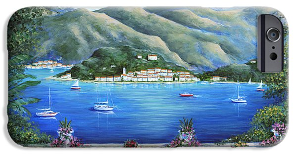 Terraces iPhone Cases - Bellagio From The Cafe iPhone Case by Marilyn Dunlap
