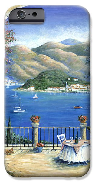 Italian Wine Paintings iPhone Cases - Bellagio Lake Como From the Terrace iPhone Case by Marilyn Dunlap