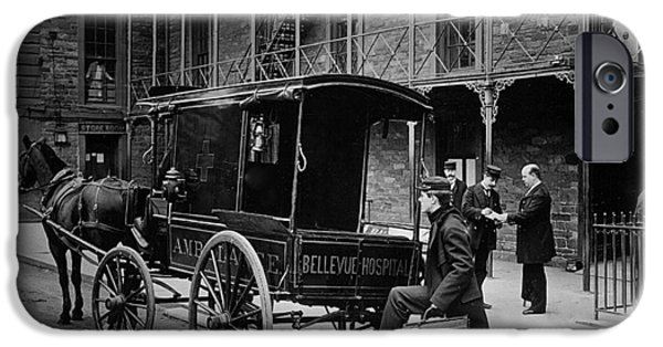 Psychiatric iPhone Cases - Bellevue Hospital Ambulance 1895 iPhone Case by New York Times