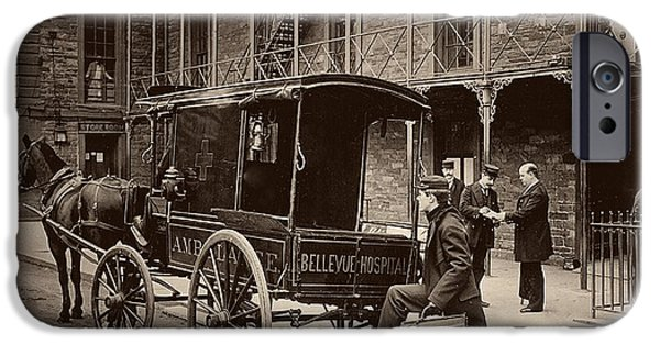 Psychiatric iPhone Cases - Bellevue Hospital Ambulant 1895 iPhone Case by New York Times