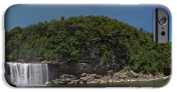 Turbulent Skies iPhone Cases - Below Cumberland Falls iPhone Case by Johnnie Nicholson
