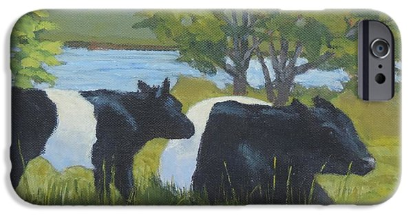 Maine Farms Paintings iPhone Cases - Belted Galloway and Calf iPhone Case by Bill Tomsa