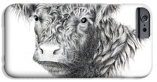 Mammals Drawings iPhone Cases - Beltie iPhone Case by Sandra Moore