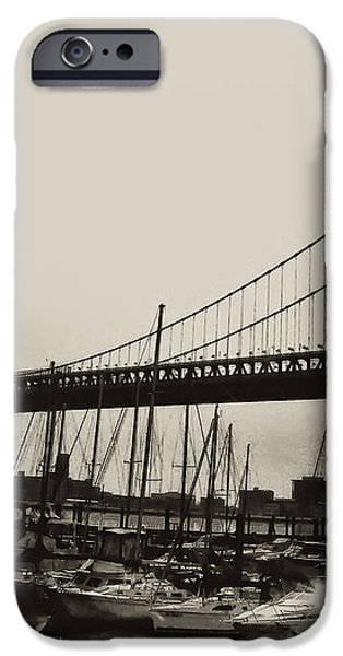 Ben Franklin Bridge from the Marina in Black and White. iPhone Case by Bill Cannon