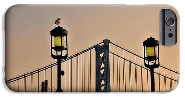 Ben Franklin iPhone Cases - Ben Franklin Bridge in Early Morning iPhone Case by Bill Cannon