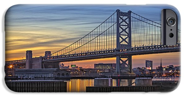 United States iPhone Cases - Ben Franklin Bridge iPhone Case by Susan Candelario