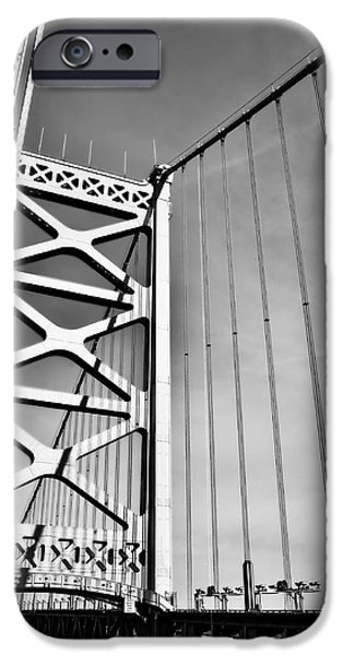 Franklin iPhone Cases - Ben Franklin Bridge Tower in Black and White iPhone Case by Bill Cannon