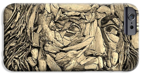 Patriots Sculptures iPhone Cases - Ben In Wood Sepia iPhone Case by Rob Hans