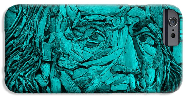 Macro Sculptures iPhone Cases - Ben In Wood Turquoise iPhone Case by Rob Hans