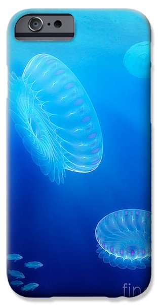 """digital Abstract"" iPhone Cases - Beneath a fractal sea iPhone Case by John Edwards"