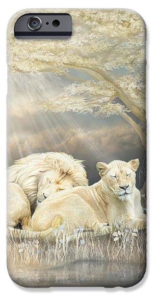 Lion Print iPhone Cases - Beneath The Acacia Tree 2 iPhone Case by Carol Cavalaris