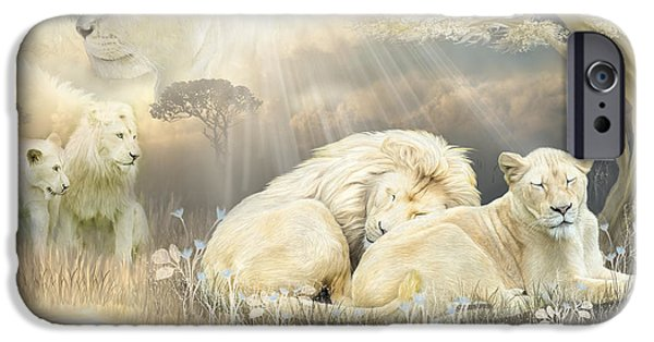 Lion Print iPhone Cases - Beneath The Acacia Tree iPhone Case by Carol Cavalaris