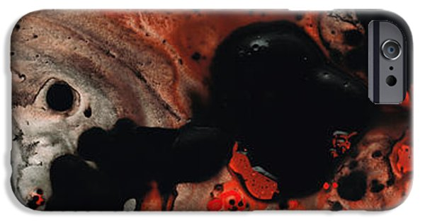 Colorful Abstract iPhone Cases - Beneath The Fire - Red And Black Painting Art iPhone Case by Sharon Cummings