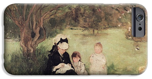 Garden iPhone Cases - Beneath the Lilac at Maurecourt iPhone Case by Berthe Morisot