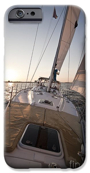 Sailing Yacht iPhone Cases - Beneteau 49 Sailing Yacht close hauled charleston sunset Sailboat iPhone Case by Dustin K Ryan