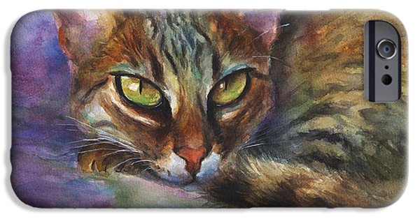 Cat Drawings iPhone Cases - Bengal Cat watercolor art painting iPhone Case by Svetlana Novikova