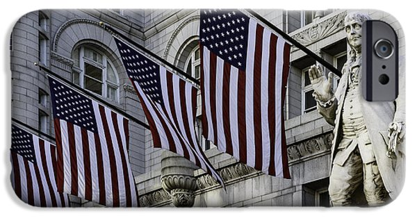 Historic Downtown Franklin iPhone Cases - Benjamin Franklin at Old Post Office iPhone Case by Eduard Moldoveanu