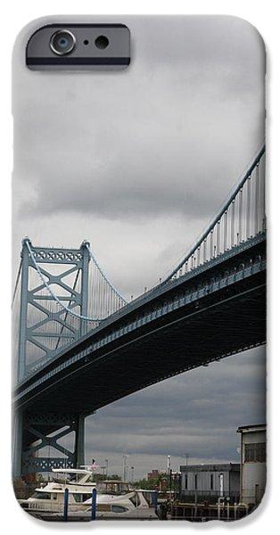 Franklin iPhone Cases - Benjamin Franklin Bridge Philadelphia iPhone Case by Christiane Schulze Art And Photography