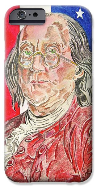 Franklin Drawings iPhone Cases - Benjamin Franklin iPhone Case by John Keaton