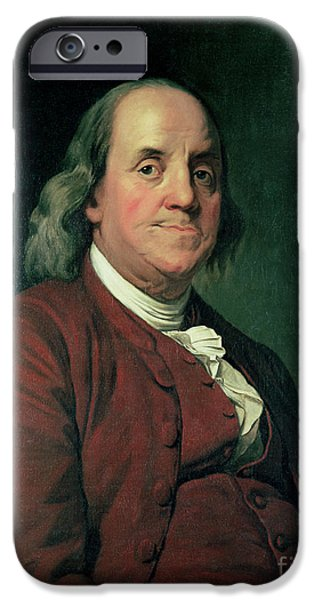 Franklin iPhone Cases - Benjamin Franklin iPhone Case by Joseph Wright of Derby