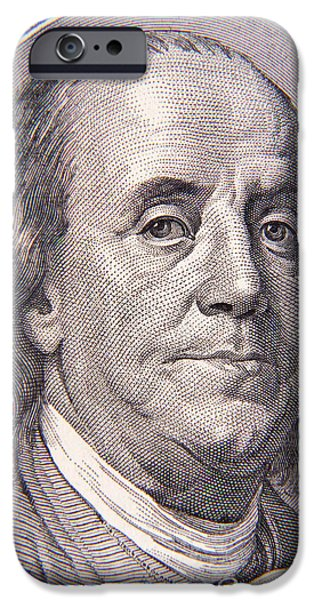 Franklin iPhone Cases - Benjamin Franklin iPhone Case by Les Cunliffe