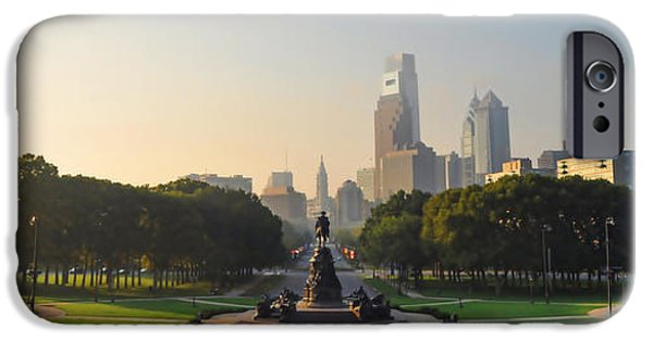 Franklin iPhone Cases - Benjamin Franklin Parkway View iPhone Case by Bill Cannon