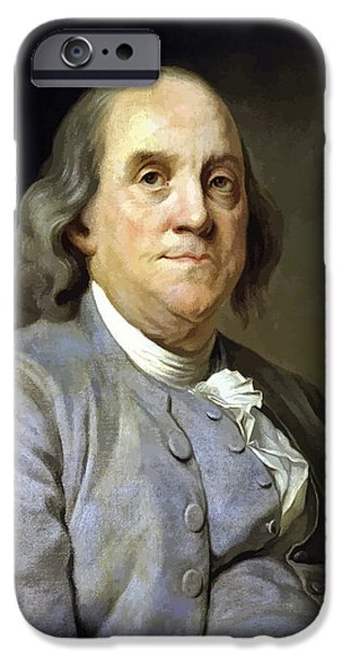 4th July Paintings iPhone Cases - Benjamin Franklin iPhone Case by War Is Hell Store
