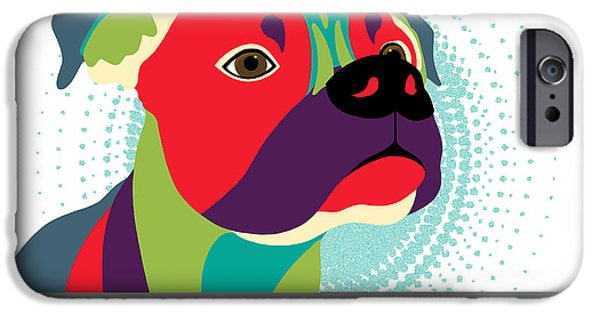 Boxer Digital Art iPhone Cases - Bennie The Boxer Dog iPhone Case by Sharon Norman