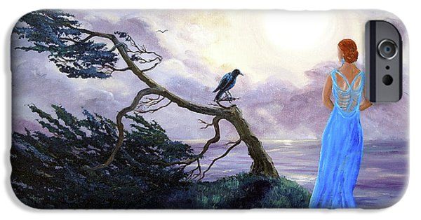 Crows iPhone Cases - Bent Cypress and Blue Lady iPhone Case by Laura Iverson