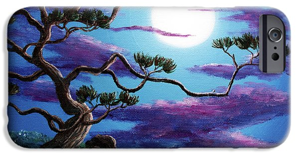 Buddhist Paintings iPhone Cases - Bent Pine Tree at Moonrise iPhone Case by Laura Iverson