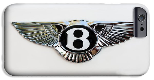 Print Photographs iPhone Cases - Bentley Emblem -0081c iPhone Case by Jill Reger