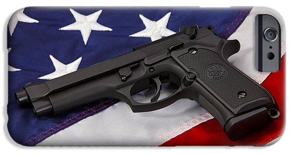 Constitution iPhone Cases - Beretta Handgun Lying On United States Of America Flag iPhone Case by Joe Fox