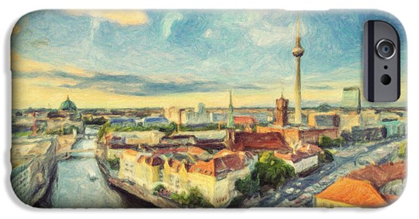 Berlin Paintings iPhone Cases - Berlin Skyline iPhone Case by Taylan Soyturk