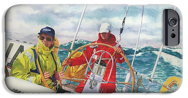 Sailboat Ocean iPhone Cases - Bermuda Race Competitors iPhone Case by Marguerite Chadwick-Juner