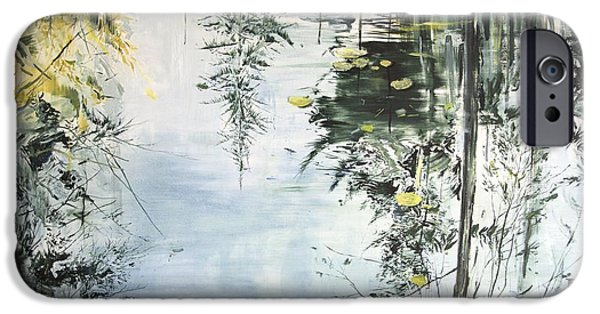 Reflecting Water Paintings iPhone Cases - Bern Pool iPhone Case by Calum McClure