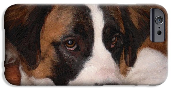 Puppy Digital Art iPhone Cases - Bernadette iPhone Case by Doug Kreuger